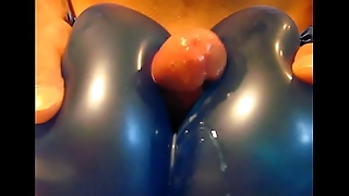Cumshot between two balloons