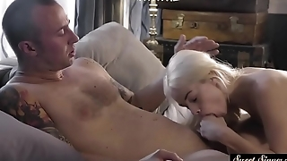 Petite stepdaughter banged from behind