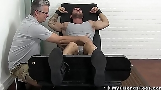 Inked hunk Chase has stuck feet tickled furiously