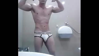 Solo Boy Flex Locker Room White Briefs Muscle Bulge Video Zak Rogerz