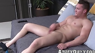 Very attractive muscular soldier wanks off his small cock