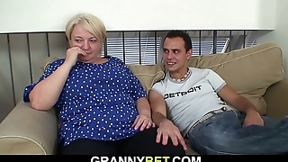 Busty 70 years old blonde grandma pleases young stud