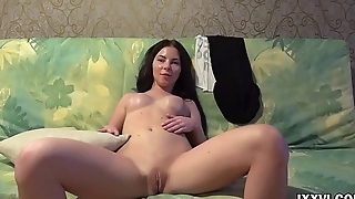 Sexy brunette Angie Koks  show pussy and round ass