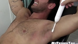 Gay mature pervert has tickle fest with restrained stud