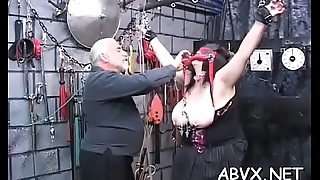 Hot scenes of coarse bondage on busty babe'_s bawdy cleft
