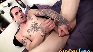 Handsome tattooed and tall thug solo masturbates and cums