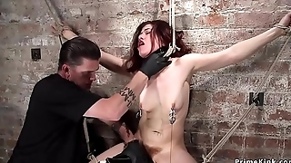 Hairy babe anal fingered in hogtie