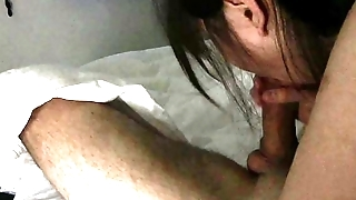 Asian Student Cum In Mouth On White Guy (He Cum She Keep Sucking)