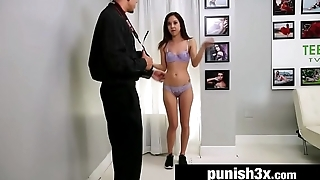 Shy Cutie Bound &amp_ Fucked Doggystyle On a Casting Couch - Mila Jade