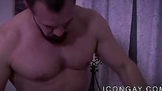 Beefy hunk passionately ass fucks his younger boyfriend