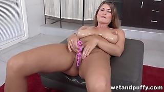 Belle with huge natural melons loves toying her twat