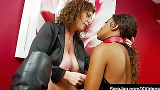 Hot Mistress Sara Jay Face Fucks Slave Ashley Sin!