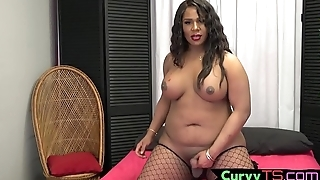 Sexy ebony bbw tgirl gets her cock out