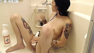 cute hot tattoo girl has orgasm in shower with water jet