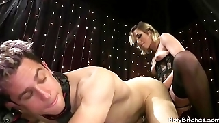 Lusty mistress pegs her slave boy